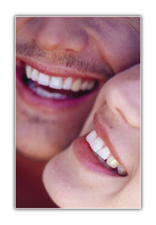 Two people smiling together