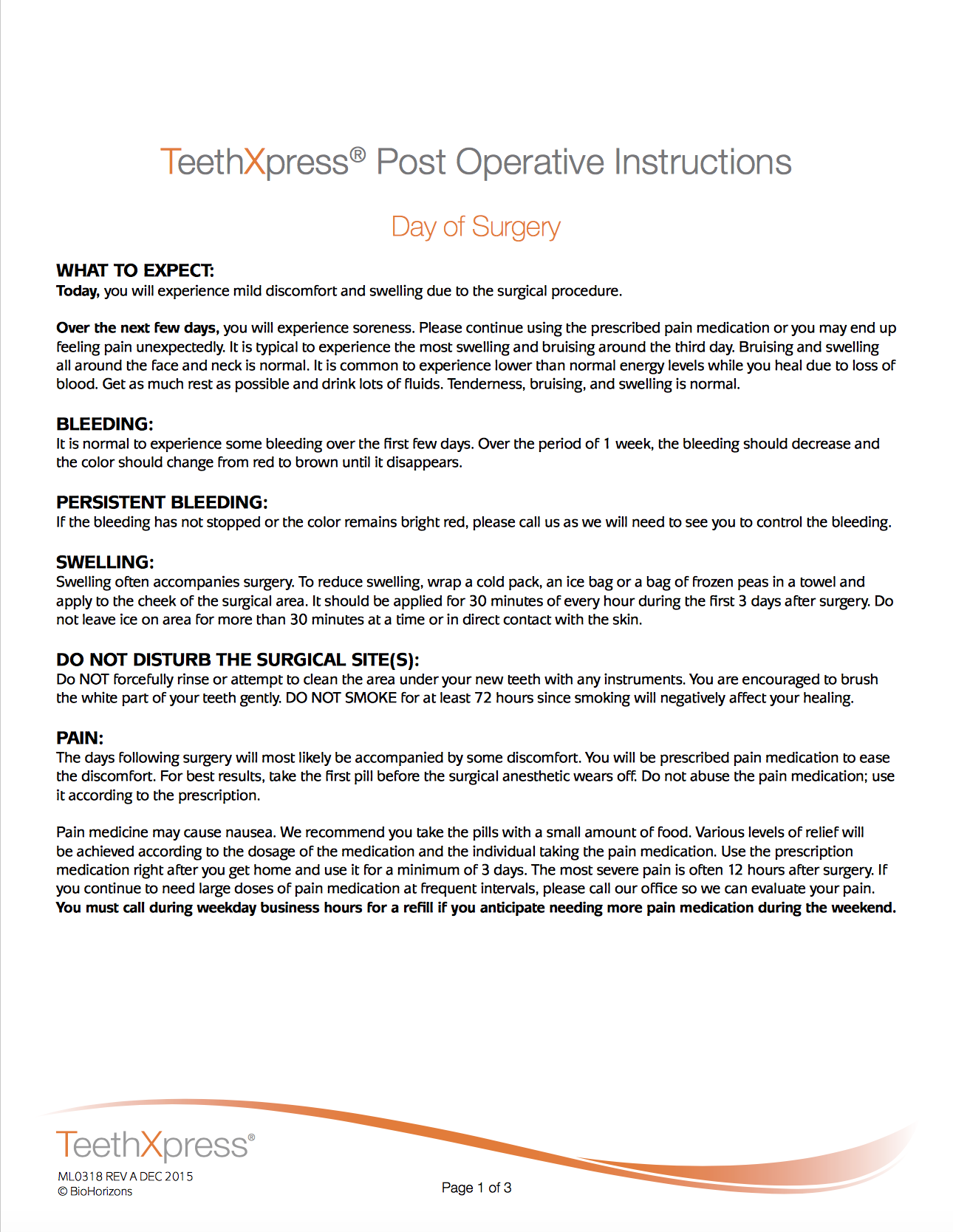 TeethXpress Post Op Instructions page 1