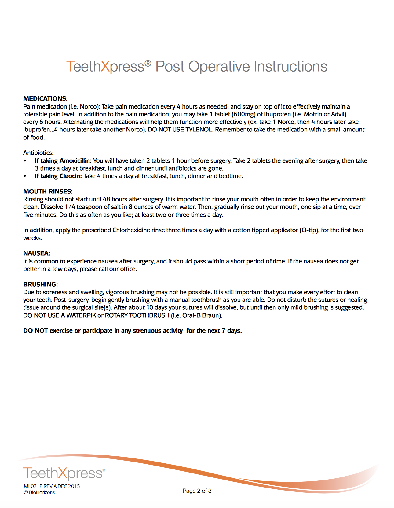 TeethXpress Post Op Instructions page 2