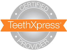 The certification symbol for TeethXpress treatment.
