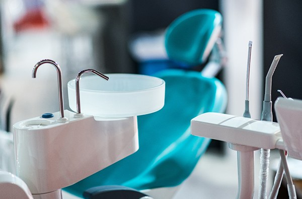 Empty chair at dentist for dental implants.